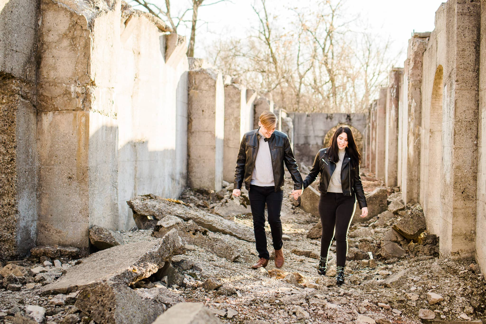 joliet ironworks engagement session chicago wedding photographer